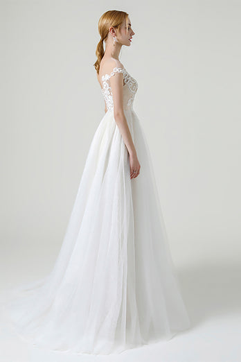 Champagne Ilusion Round Neck Long Wedding Dress