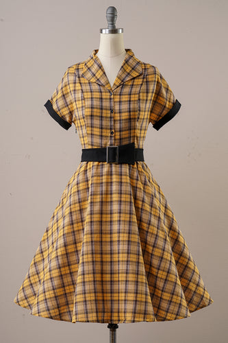 Yellow Plaid Vintage 1950s Dress