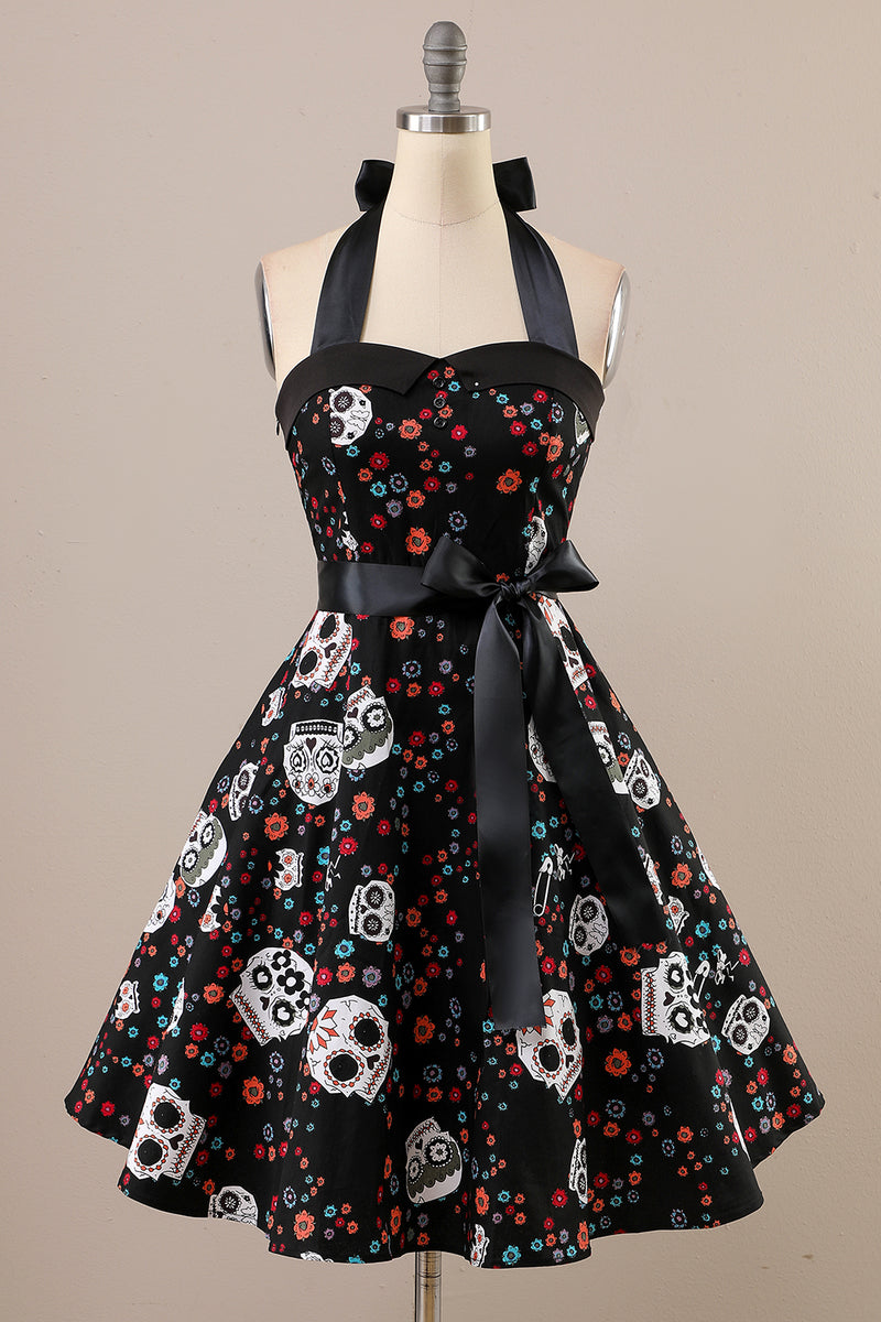 Load image into Gallery viewer, Vintage Skull Printed Halloween Pin Up Dress