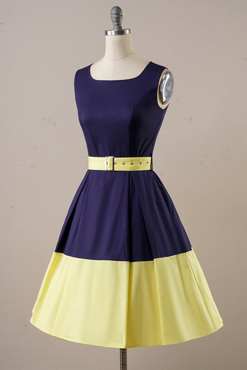 Navy Yellow Vintage Day Dress