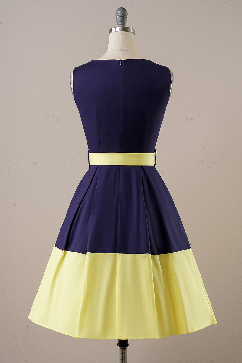 Load image into Gallery viewer, Navy Yellow Vintage Day Dress