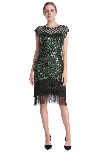 Dark Green Sequin 1920s Dress