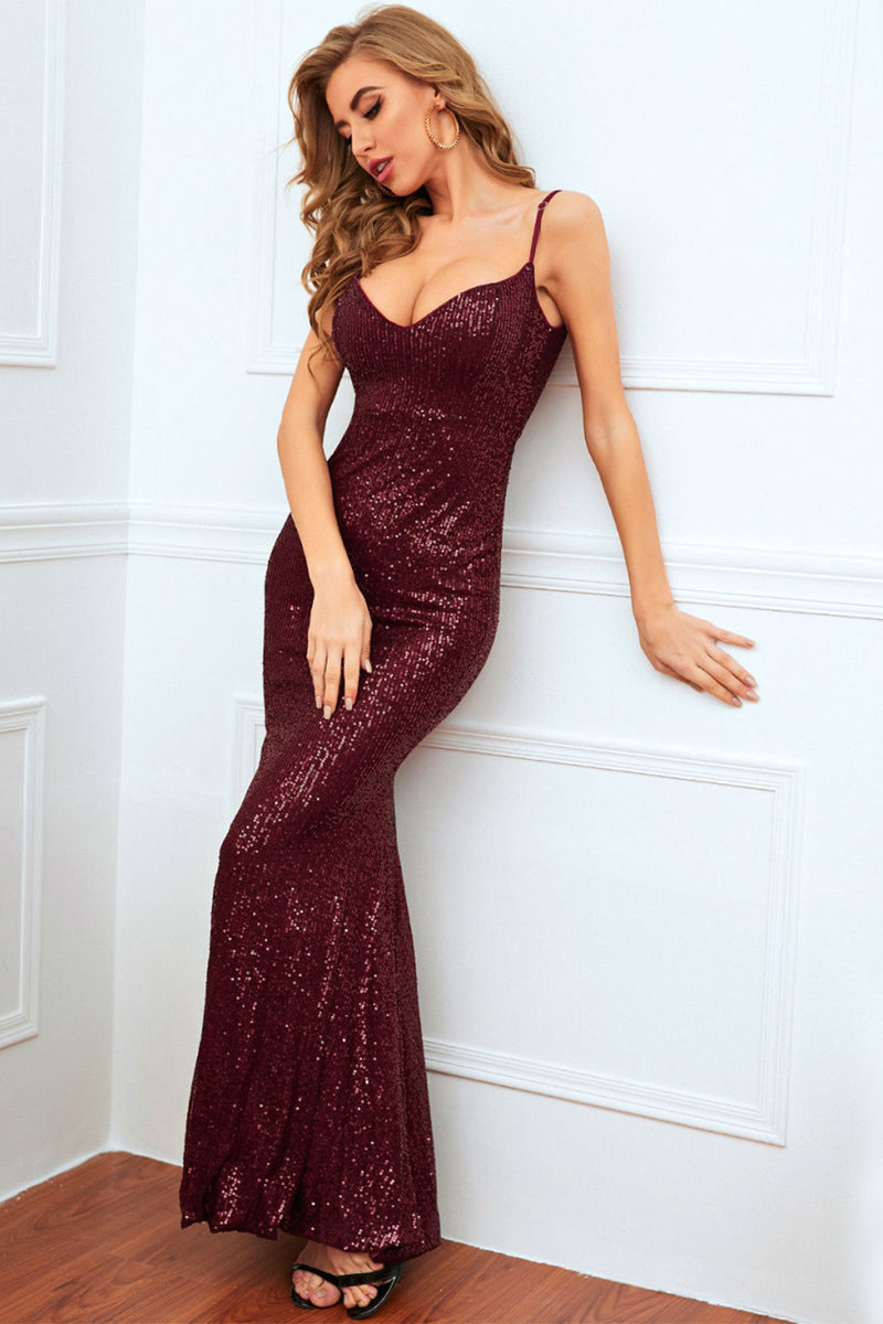 Load image into Gallery viewer, Burgundy Mermaid Sequin Long Prom Dress