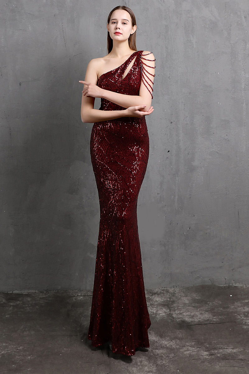 Load image into Gallery viewer, Gold Mermaid One Shoulder Sequin Prom Dresses