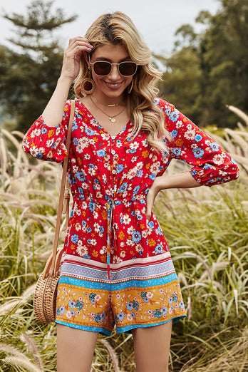Summer Print Red Short Jumpsuit
