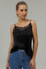 Load image into Gallery viewer, Front Lace Spaghetti Straps Black Tank Top