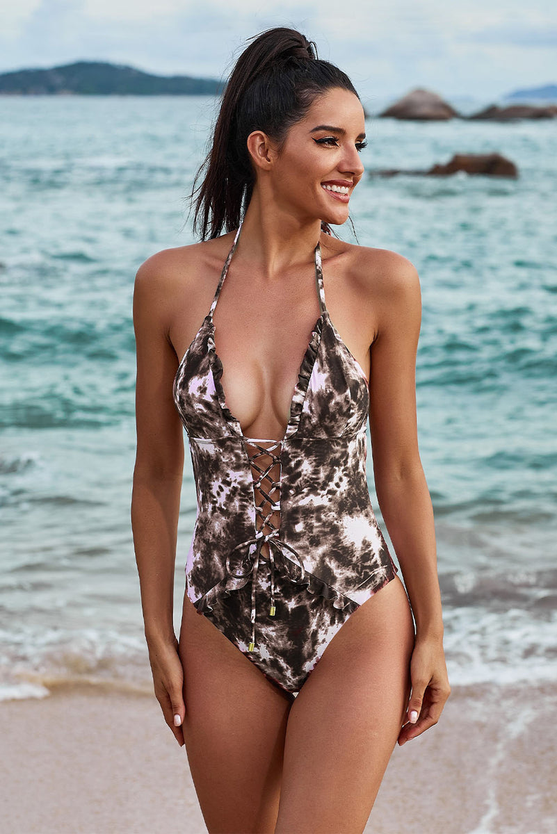 Load image into Gallery viewer, Camouflage Apricot One Piece Swimsuit