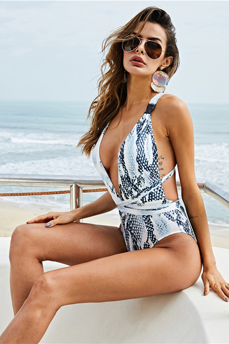 Load image into Gallery viewer, Grey Printed One Piece Swimsuits