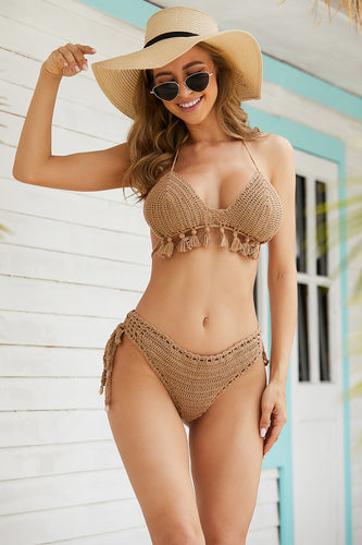 Two Pieces tassels Lace Up Swimsuit