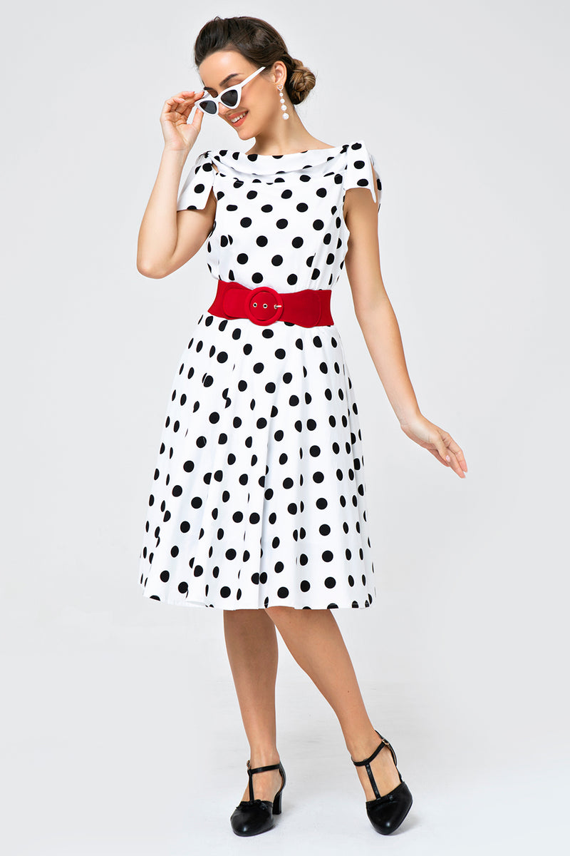 Load image into Gallery viewer, White Off-shoulder Dress with Black Polka Dots