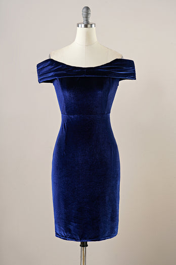 Navy Velvet Bodycon Party Dress