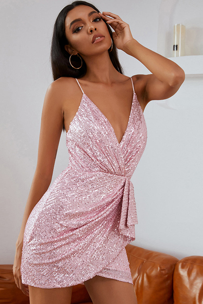 Load image into Gallery viewer, Pink Sequins Cocktail Dress