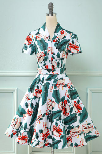 Retro V Neck Leaf Printed Vintage Dress