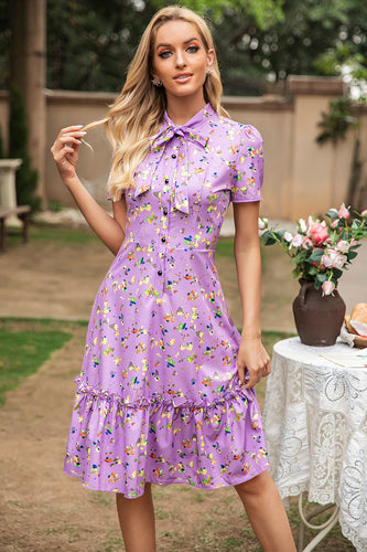 Purple Floral Summer Dress
