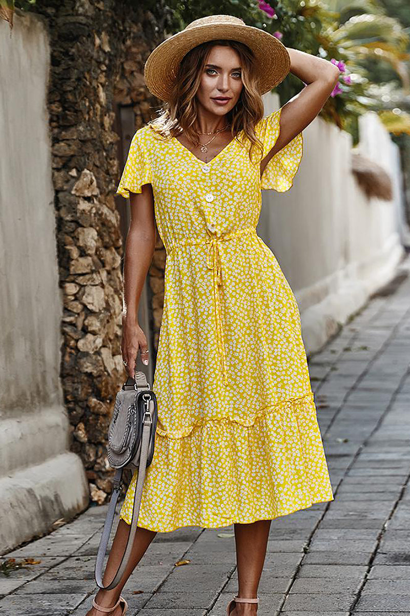 Load image into Gallery viewer, Yellow Floral Boho Summer Dress