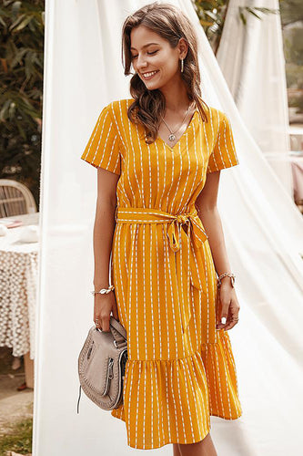 Yellow Striped Midi Casual Dress