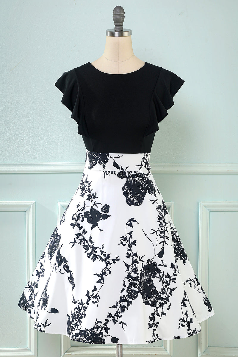 Load image into Gallery viewer, Black Print Vintage 1950s Dress