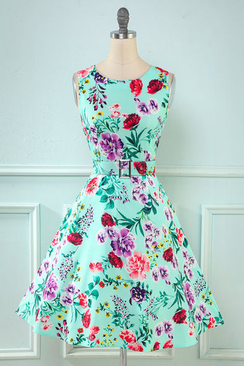 Green Flower Print 1950s Dress