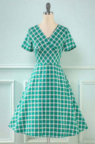 Plaid Green 1950s Dress