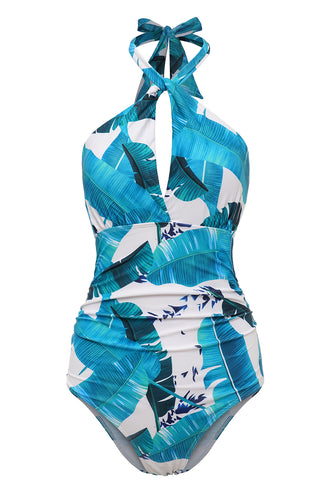 Blue Halter Printed Swimwear with Keyhole