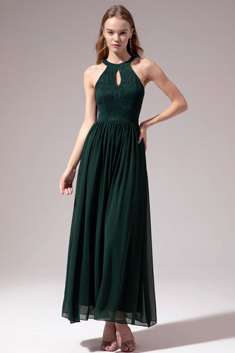 Halter Long Lace Bridesmaid Dress