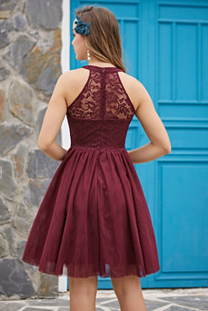 Halter Burgundy Lace Dress
