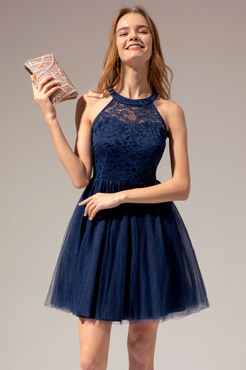 Navy Halter Lace Dress