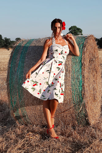 Print Pin Up Halter Vintage Dress