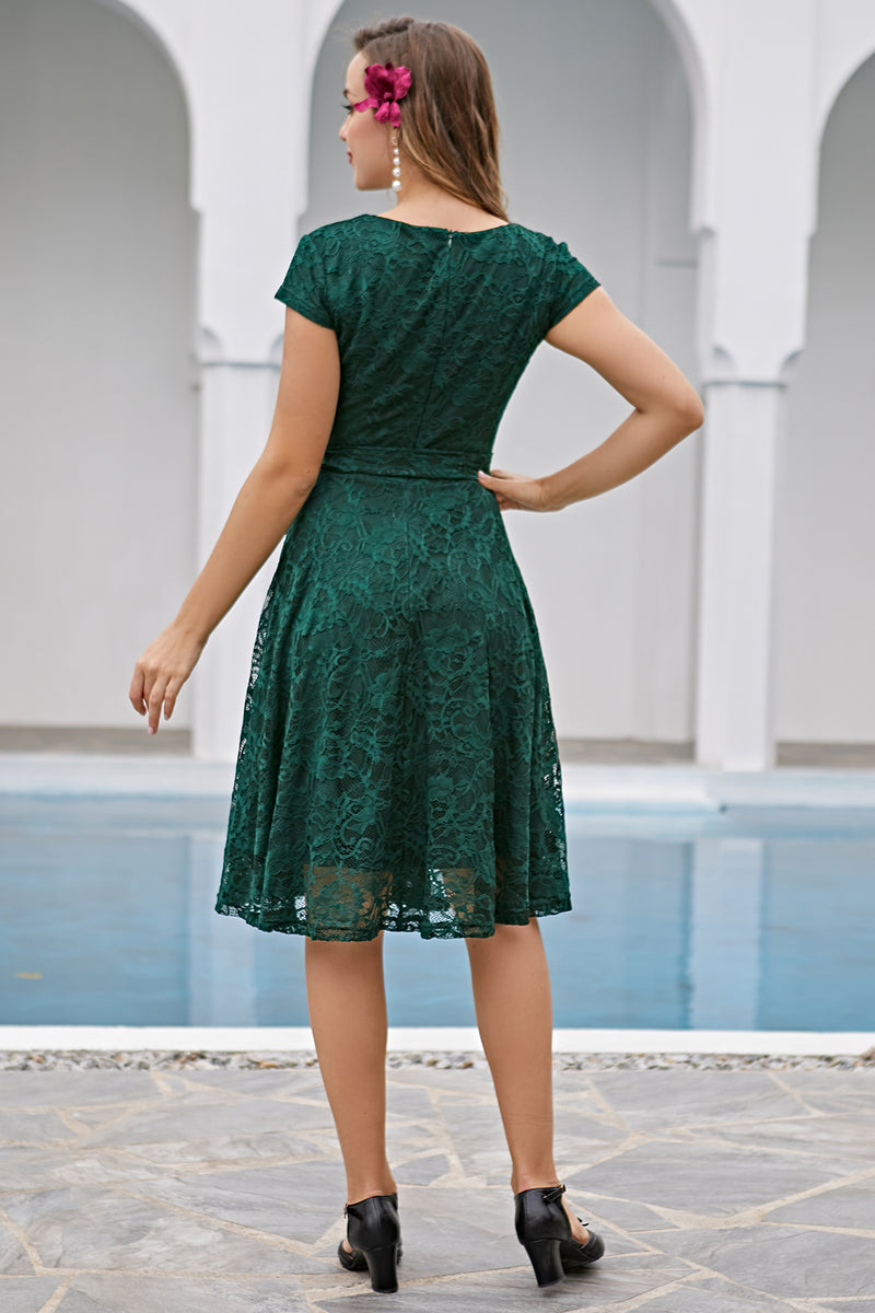 Load image into Gallery viewer, Dark Green Lace Midi Dress