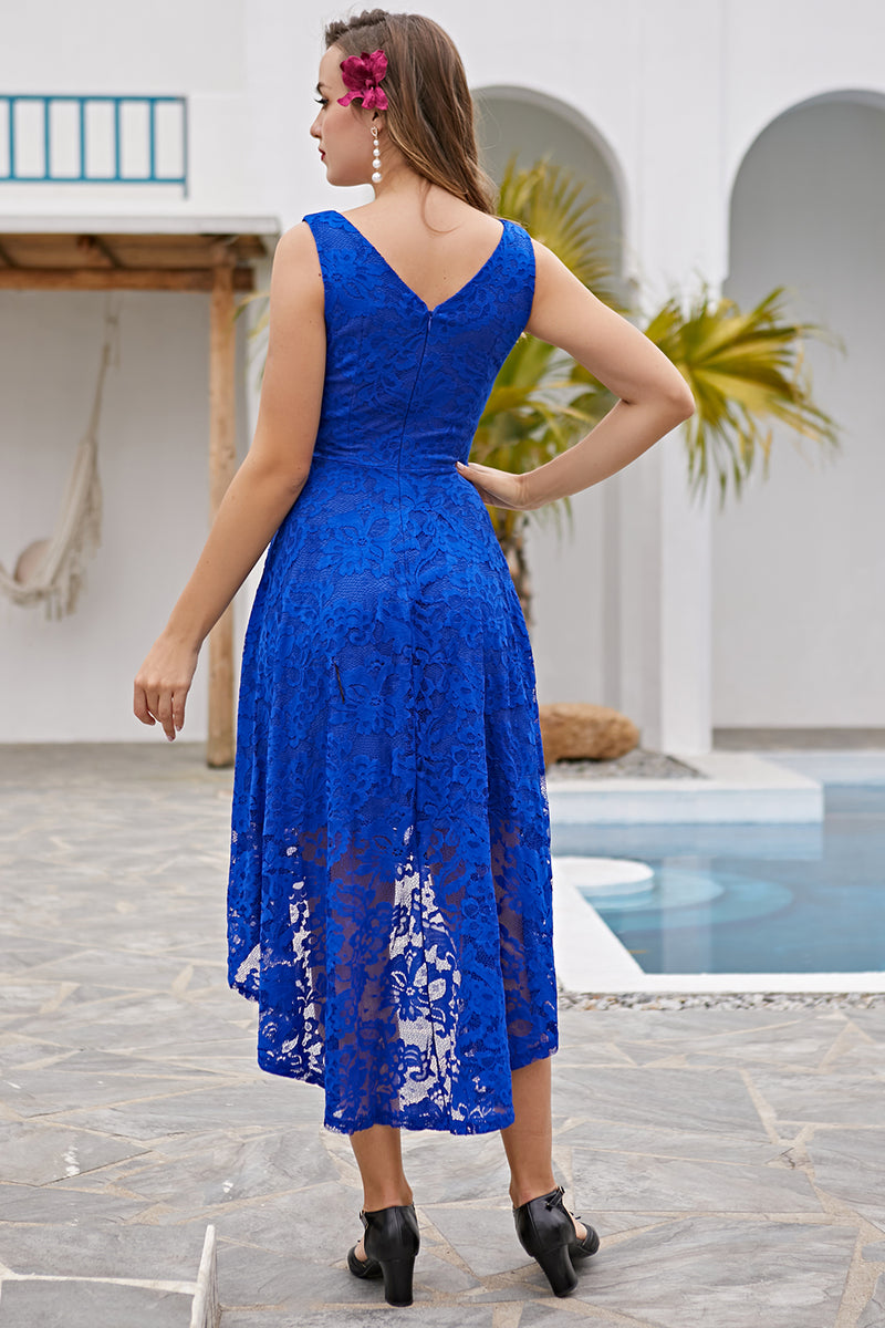 Load image into Gallery viewer, Royal Blue Asymmetrical Lace Dress
