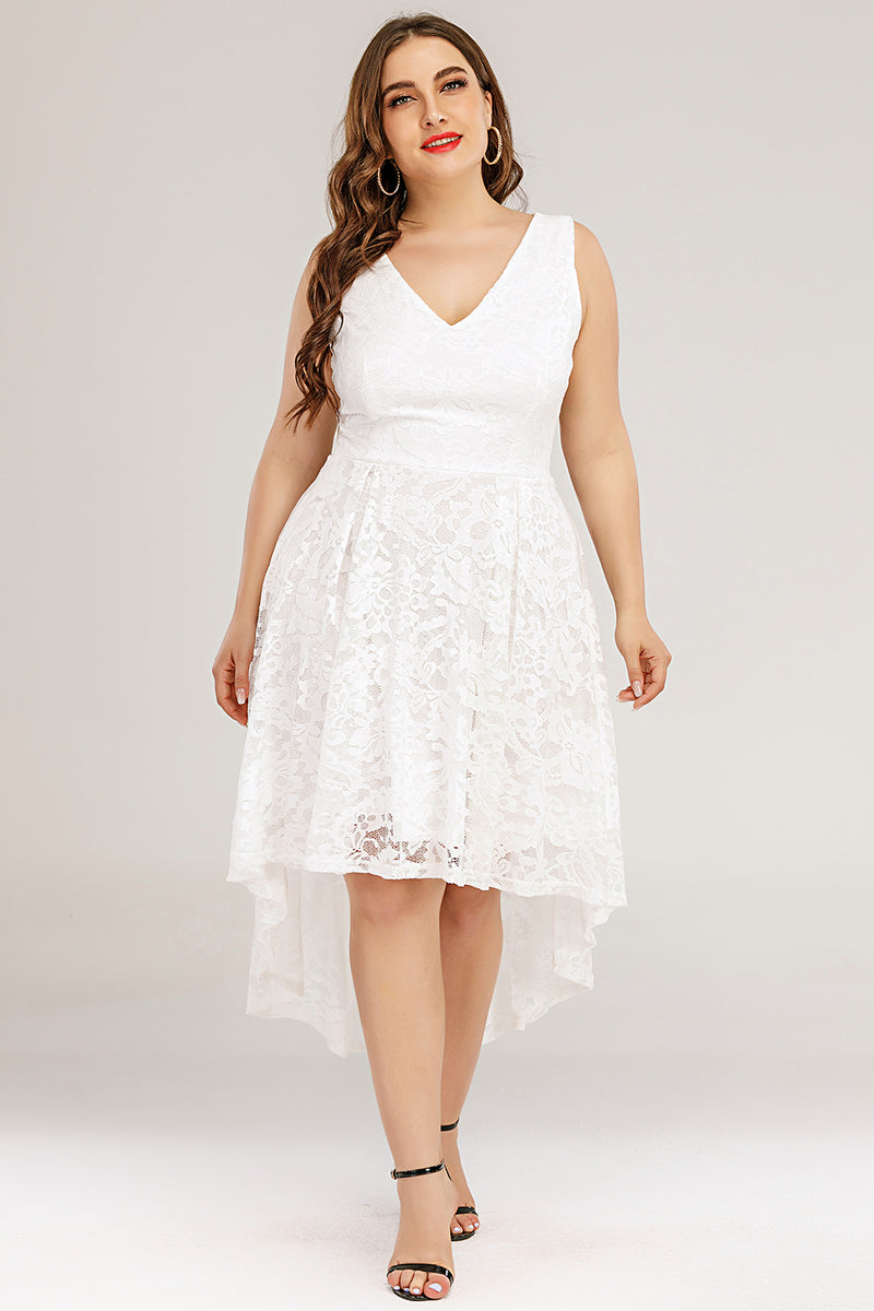 Load image into Gallery viewer, Lace Asymmetrical Plus Size Dress
