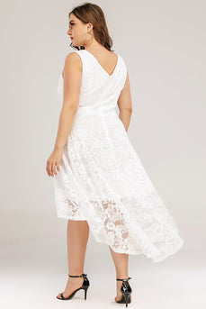 Lace Asymmetrical White Dress