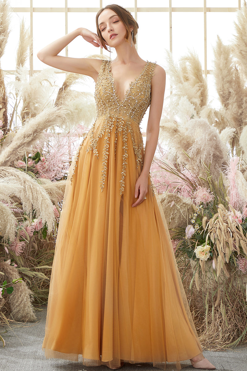 Load image into Gallery viewer, Deep V-neck Long Prom Dress with Appliques