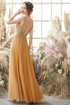 Deep V-neck Long Prom Dress with Appliques