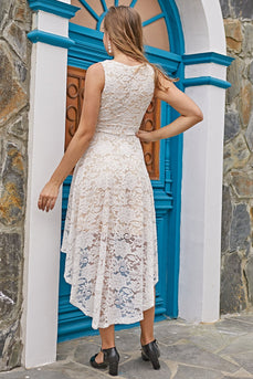 V Neck High Low Lace Dress