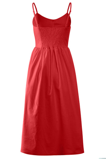 V Neck Midi Rayon Casual Dress