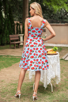 Blue Strawberry Floral Vintage Swing 1950s Dress