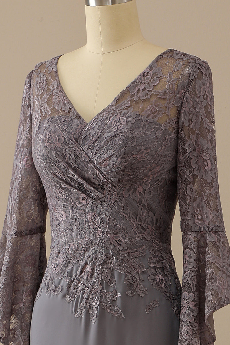 Load image into Gallery viewer, V Neck Lace Grey Mother of Bride Dress Long Sleeves