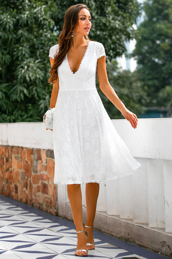 White Lace Open Back Party Dress