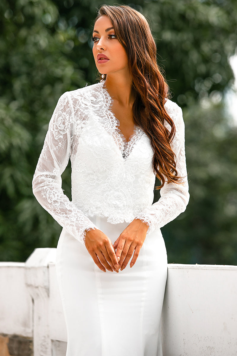 Load image into Gallery viewer, V Neck White Lace Tops