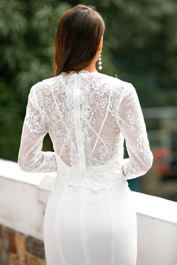 V Neck White Lace Tops