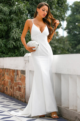 Mermaid V Neck White Long Wedding Dress