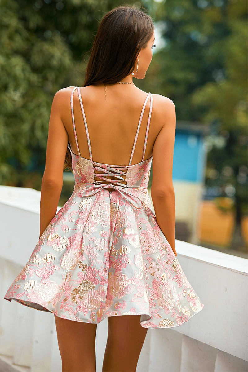 Load image into Gallery viewer, Pink Spaghetti Straps Short Homecoming Party Dress