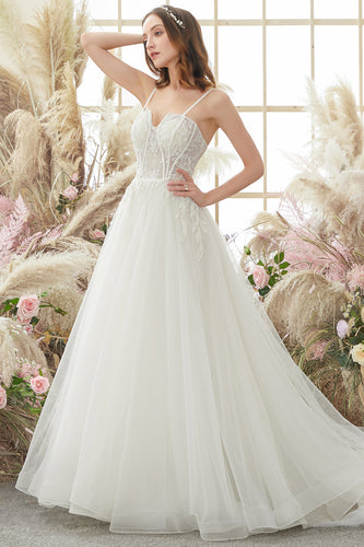 Ivory Spaghetti Straps Wedding Dress