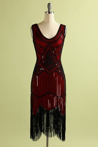 Red and Black Deep V Neck Flapper 1920s Dress