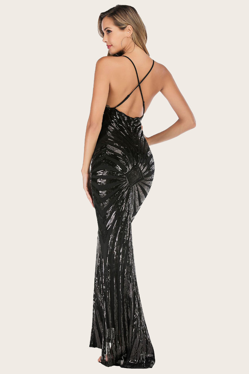 Load image into Gallery viewer, Black Mermaid Sequin Long Prom Dress
