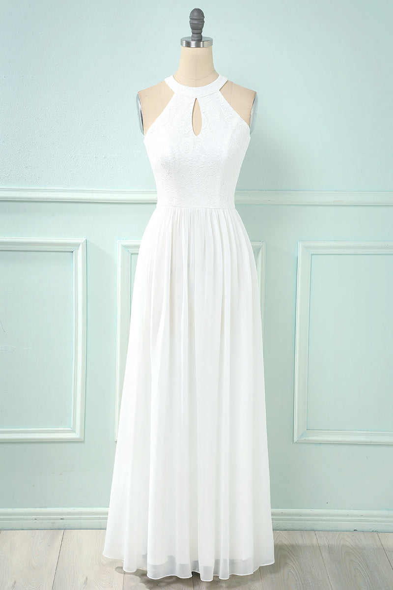 Load image into Gallery viewer, Halter Keyhole Lace Chiffon Bridesmaid Dress