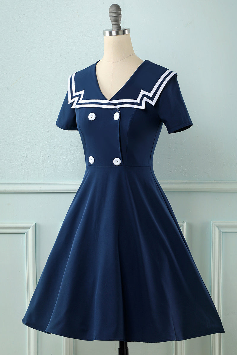 Load image into Gallery viewer, Navy 1950s Swing Dress