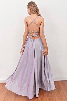 Lilac Deep V Neck Long Prom Dress with Cross Straps