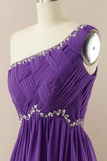 One Shoulder Beaded Prom Dress